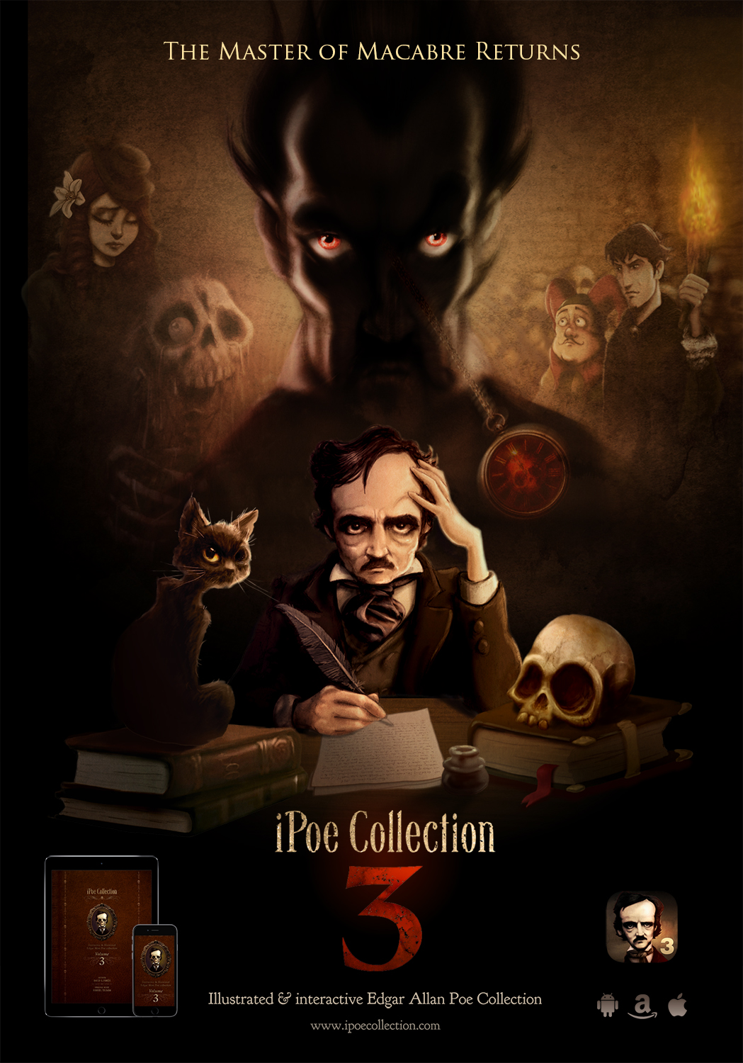 iPoe collection vol3: The Cask of Amontillado, Alone, The Facts in the Case of M. Valdemar, and El Dorado.