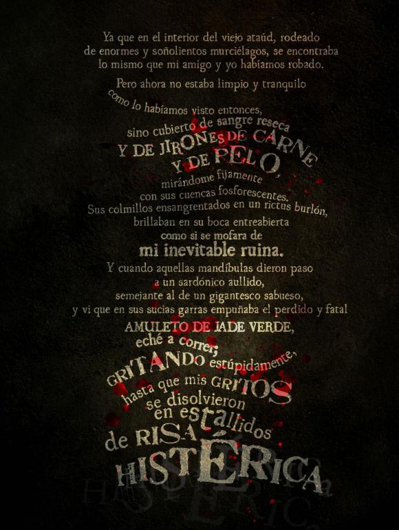 H.P. Lovecraft - El Sabueso. Ejemplo tipográfico extraído de iLovecraft collection.